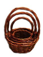 Плетеные корзины для цветов и подарков - набор из 3 штук - KC388bl