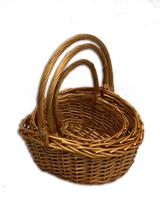 Плетеные корзины для цветов и подарков - набор из 3 штук - AA131103