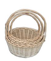 Плетеные корзины для цветов и подарков - набор из 3 штук - KC398