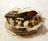 Птичка перьевая в гнезде - RF1210-523003